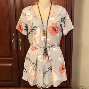 Sienna Sky Gray Floral Lined Romper